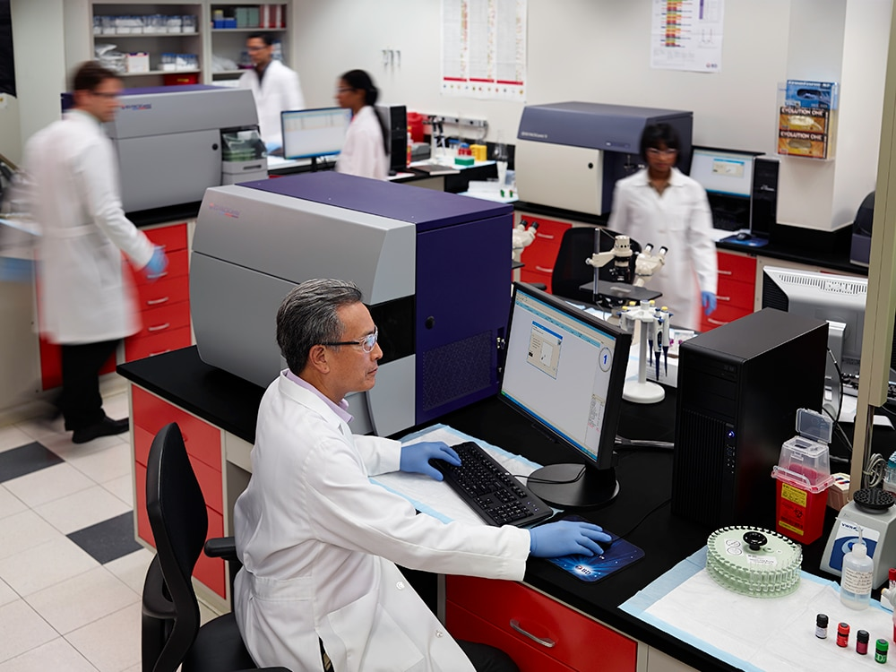BD FACSCanto™ equipment in use by a scientist in a lab.